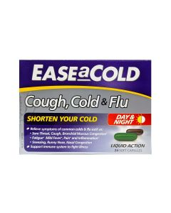 Ease-A-Cold Cough, Cold & Flu Day & Night Capsules 24's_front