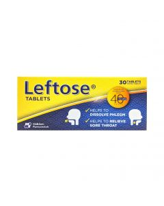 Leftose 30's Tablets for Chesty Coughs and Sore Throats_front